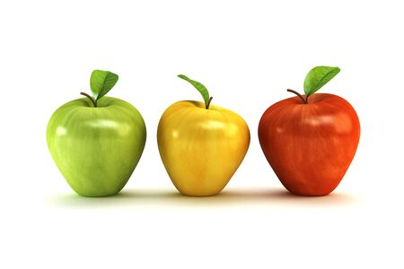 dappled: the three-colour apples 3d rendering