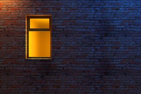 streetlights: illuminated window on a brick wall 3d scene