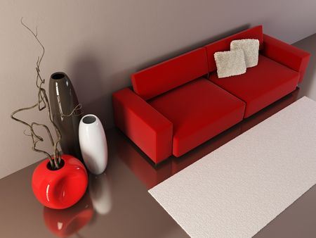 settee: 3d interior with couch and vases