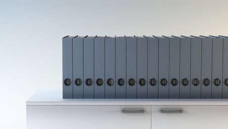 stack of files: row of folders on bookshelf