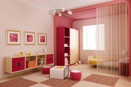 child's: 3d interior of the childrens room Stock Photo