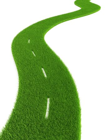 overgrown: 3d grassy road isolated