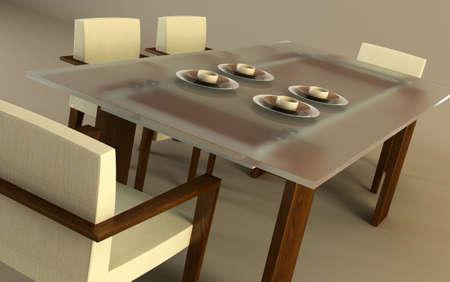 3d rendering of modern dining scene Stock Photo - 2517319