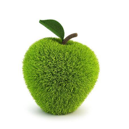 green fur apple apples 3d rendering photo