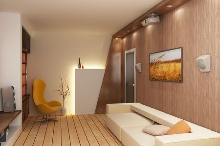 audiovisual: 3d rendering interior with home theatre Stock Photo