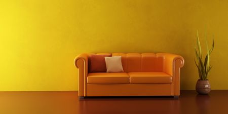 3d interior with modern couch and plant Stock Photo - 2562242