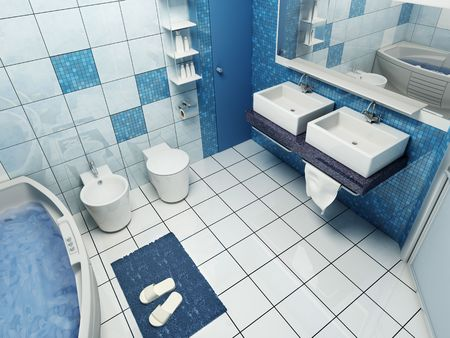 bath room: 3d rendering of the modern bathroom Stock Photo
