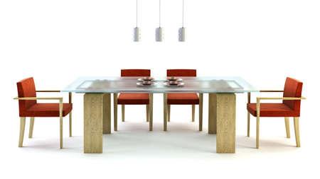 3d rendering of modern dining scene photo