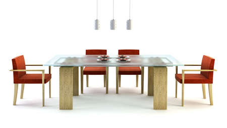 ambience: 3d rendering of modern dining scene