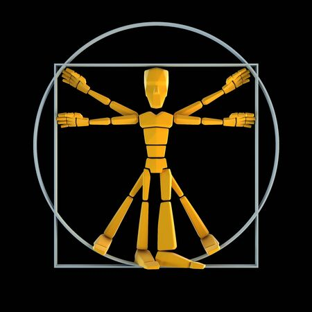 inscribed: symbolic man inscribed into circle and square Stock Photo