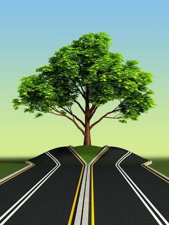 extend: big tree growth in the middle of road Stock Photo
