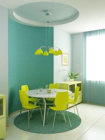 eclecticism: modern kitchen interior 3d rendering Stock Photo