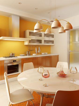 modern kitchen interior 3d rendering photo