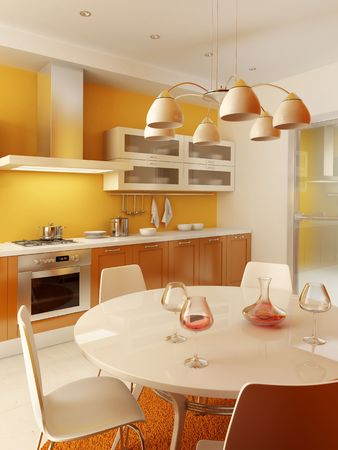modern kitchen interior 3d rendering Stock Photo - 2824551