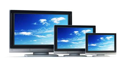 tft: 3d rendering plasma TV on white background