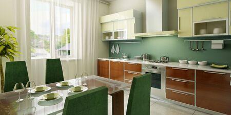 modern kitchen interior 3d rendering Stock Photo - 2824550