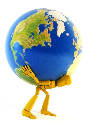 conveyance: the symbolic 3d man hold the Earth