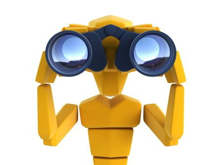 3d symbolic man looking through the binoculars