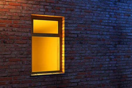 illuminated window on a brick wall 3d scene photo