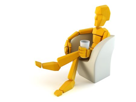 easy chair: 3d symbolic man relax in easy chair