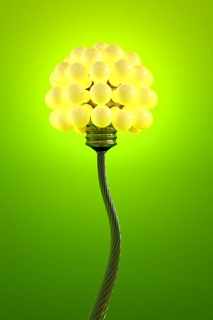 contemplating: dandelion made from electric bulbs Stock Photo