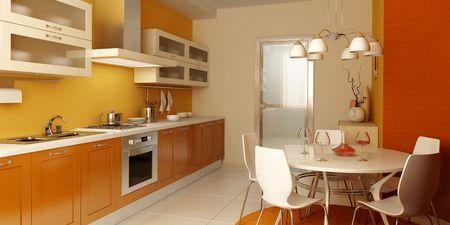 modern kitchen interior 3d rendering Stock Photo - 2880380