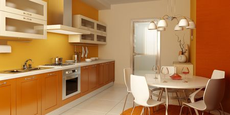 visualisation: modern kitchen interior 3d rendering Stock Photo