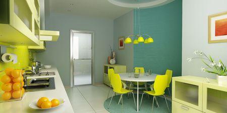 modern kitchen interior 3d rendering Stock Photo - 2880381