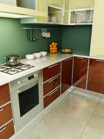 lifestyle dining: modern kitchen interior 3d rendering Stock Photo