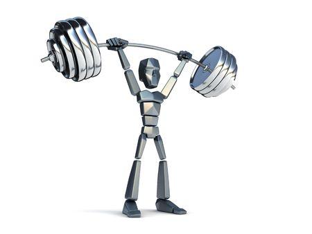 3d symbolic man hold heavy weight photo