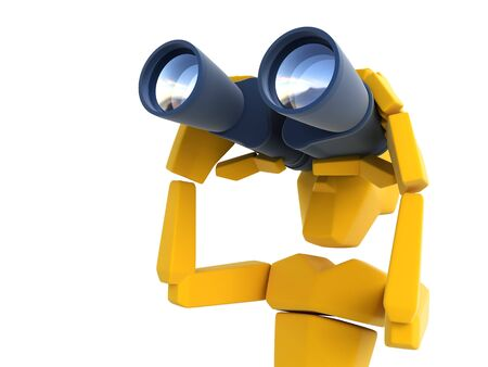 looking: 3d symbolic man looking through the binoculars