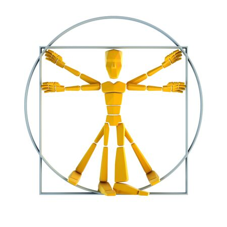 proportion: symbolic man inscribed into circle and square Stock Photo