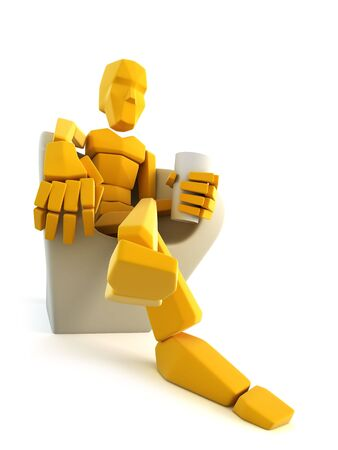 3d symbolic man relax in easy chair photo