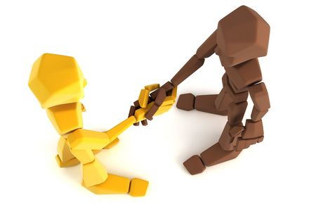 symbolic: 3d symbolic humans make an agreement Stock Photo
