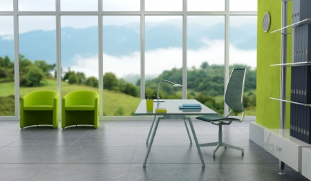 interior window: modern office interior 3d rendering