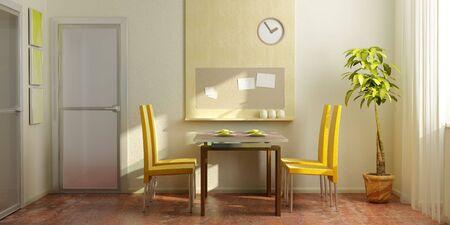 moderne, salle � manger int�rieure 3d rendering Banque d'images - 3240367