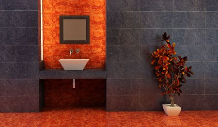 3d rendering of the Chinese bathroom Stock Photo - 3240369