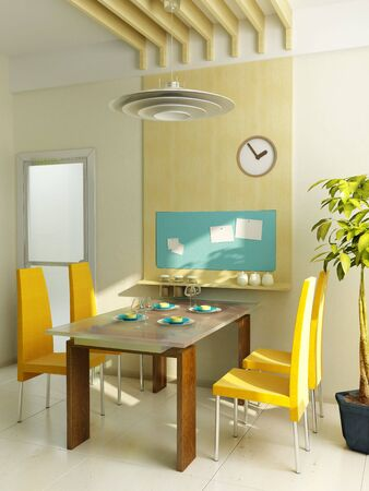 modern kitchen interior 3d rendering Stock Photo - 3240365