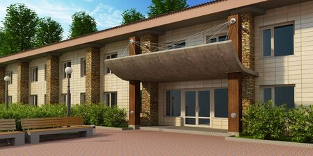 facade and house: front entrance into the building 3d rendering