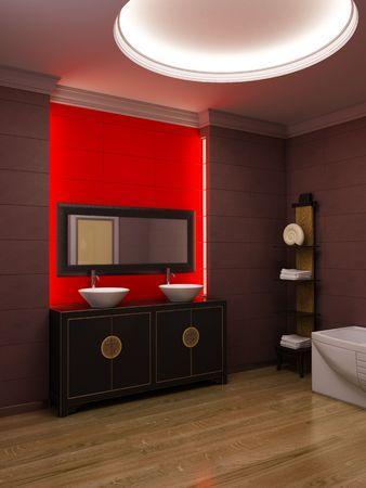 piastrelle bagno: Rendering 3D di asiatica bagno
