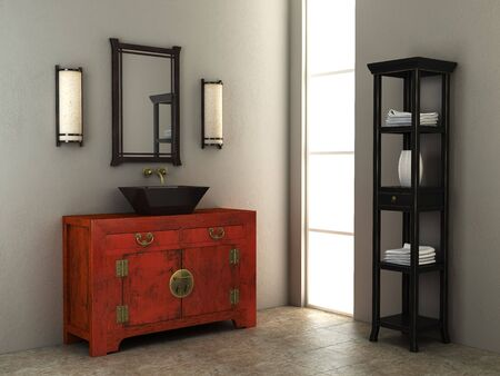 eclecticism: 3d rendering of the Chinese bathroom Stock Photo