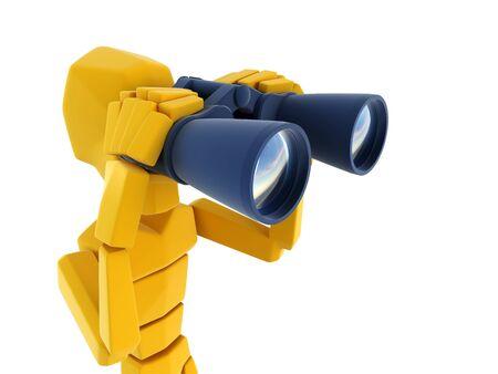 3d symbolic man looking through the binoculars Stock Photo - 3358741