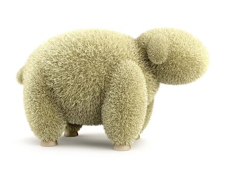 shaggy: 3d shaggy sheep isolated rendering