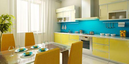 modern kitchen interior 3d rendering Stock Photo - 3358751
