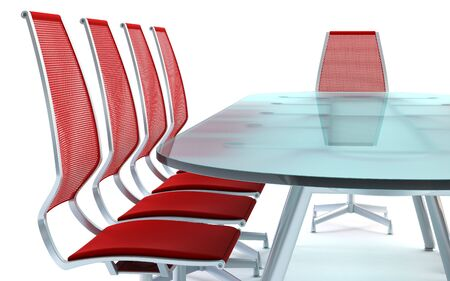 boardroom with table and chairs 3d rendering on white background photo