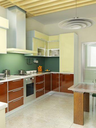 modern kitchen interior 3d rendering Stock Photo