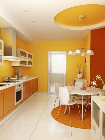dining room: modern kitchen interior 3d rendering Stock Photo