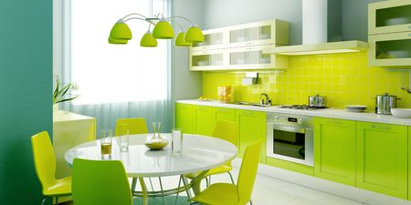 domestic kitchen: modern kitchen interior 3d rendering Stock Photo