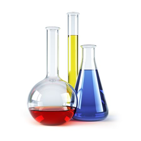 chemical flasks with reagents isolated 3d rendering  photo