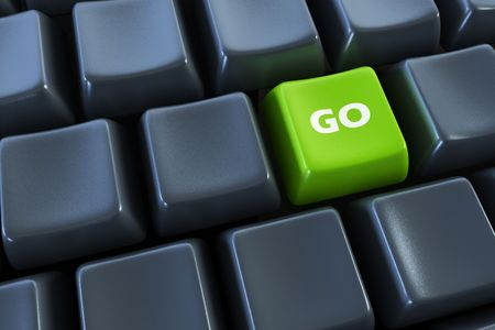 keyboard with go button 3d rendering photo